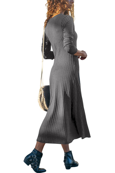 Gray Button Front Long Sleeve Ribbed Midi Dress