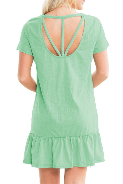 Green Strappy Back Ruffle Hem Casual Shirt Dress