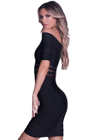 Black Mesh Stripes Insert Off Shoulder Bandage Dress