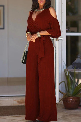 Wine V Neck Straps Wide Legs Long Jumpsuit