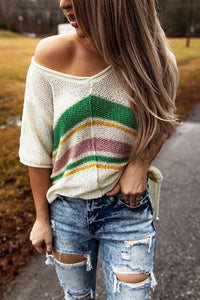 Multicolor Stripes Knit T-shirt with Slits