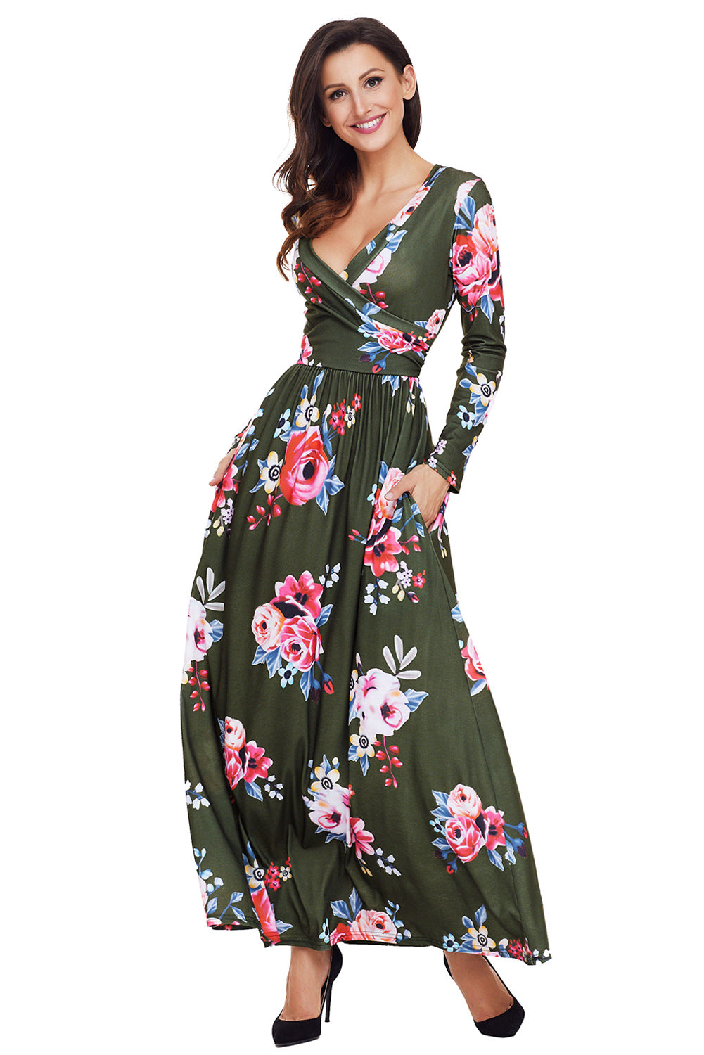 Olive Floral Surplice Long Sleeve Maxi Boho Dress