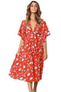 Red Boho Floral Knot Front Kimono Dress