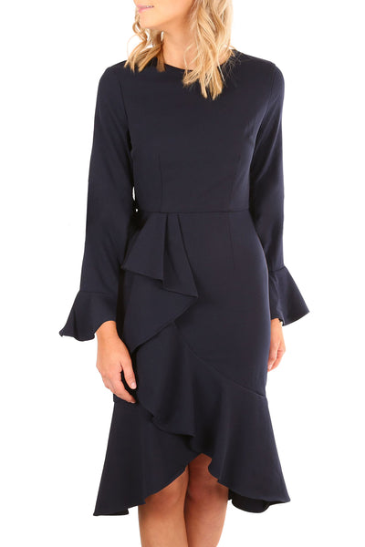 Navy Delicate Ruffle Accent Bell Sleeve Midi Dress