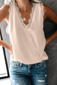 Apricot Eyelash Lace Trim Wrap V Neck Tank Top
