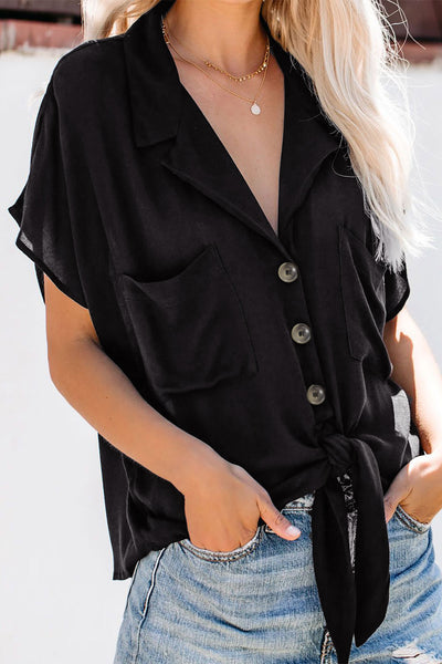 Black Zealous Button Down Tie Top