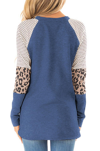 Blue Striped and Leopard Color Block Sleeves Top