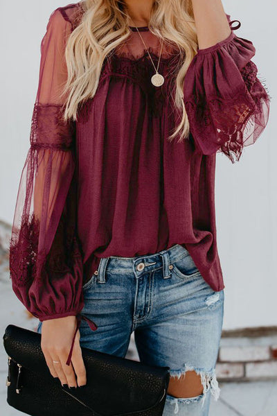 Red Fashion Lantern-Sleeve Lace Patchwork Top