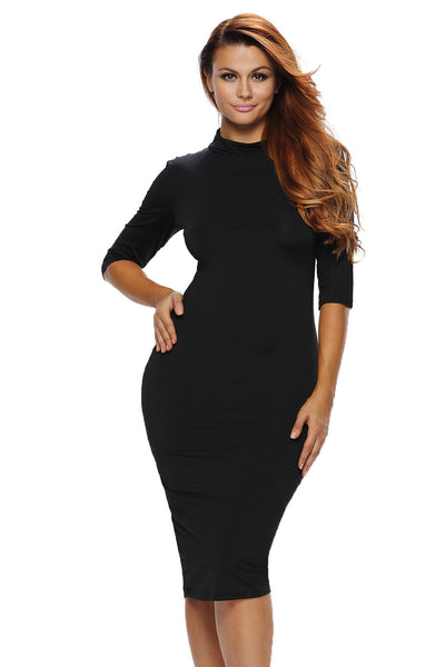 Black Bodycon Mock Neck O-ring Accent Cut out Half Sleeve Midi Dress