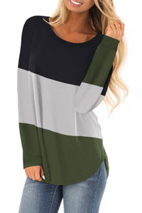 Green Long Sleeve Colorblock Top