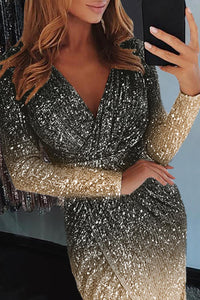 Black Ombre Sequin Wrapped Ruched Irregular Dress