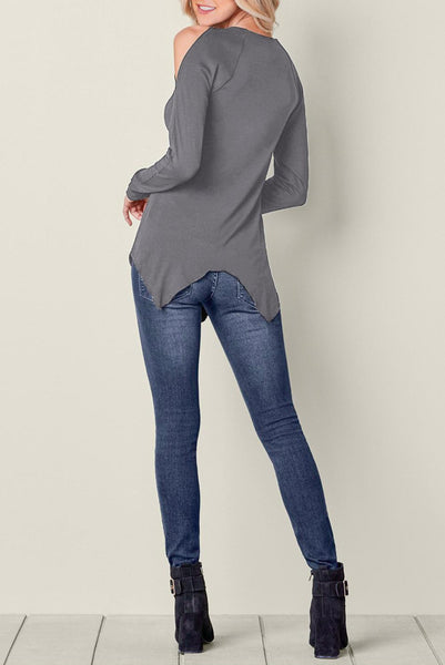 Gray Long Sleeve Flowy Lace Cold Shoulder Top