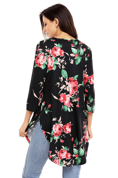 Black Babydoll Floral Tunic Top