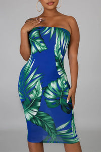 Blue Tropical Print Tube Bodycon Dress
