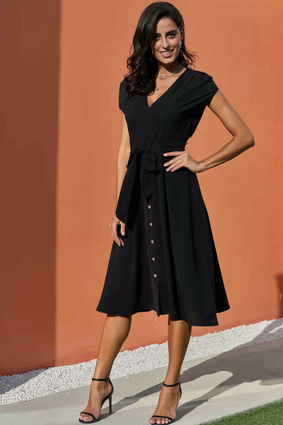Chic V Neckline Buttons Design Black Midi Dress