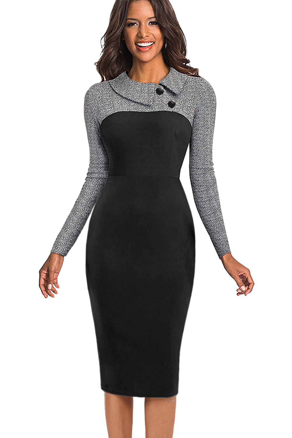 Gray Vintage Turn-Down Collar Pinup Button Midi Dress