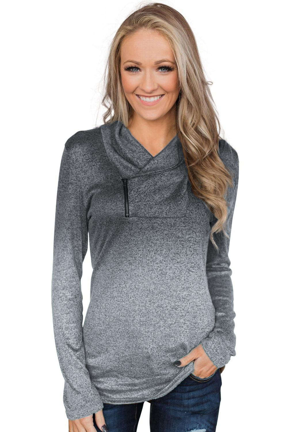 Ombre Long Sleeves Pullover Zipper Cowl Neck Sweatshirt