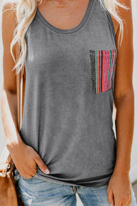 Gray Casual Women Tank Top with Multicolor Pocket
