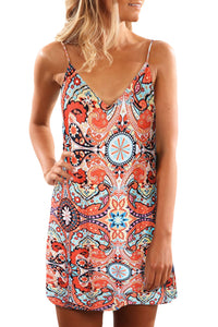 Orange Summer Casual Sleeveless Floral Printed Sundress