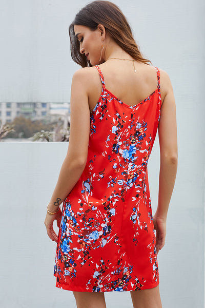 Orange Floral Pattern Buttoned Slip Cami Dress