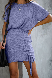Sky Blue Ruched Knit Dress