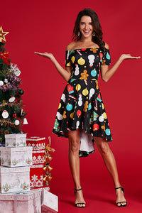 Cute Christmas Ornament Off Shoulder Dress