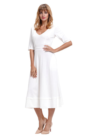 White Half Sleeve V Neck High Waist Flared Dress