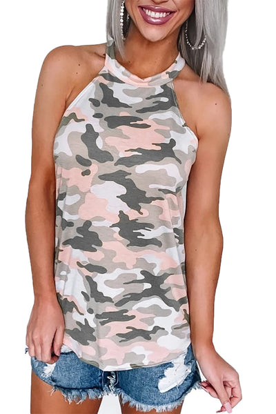 Multicolor Coastal Army Halter Tank Top