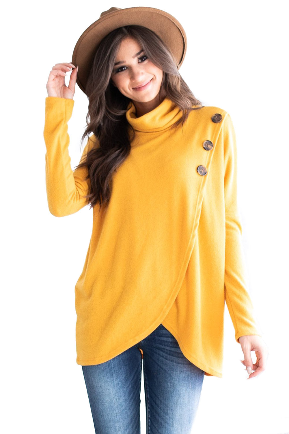 Yellow Button Cowl Neck Overlap Tunic Top