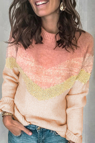 V Stripe Pattern Colorblock Sweater