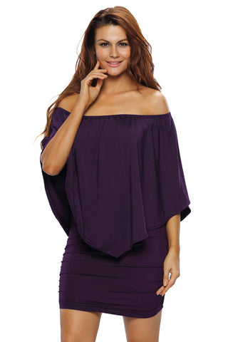 Multiple Dressing Layered Purple Mini Poncho Dress