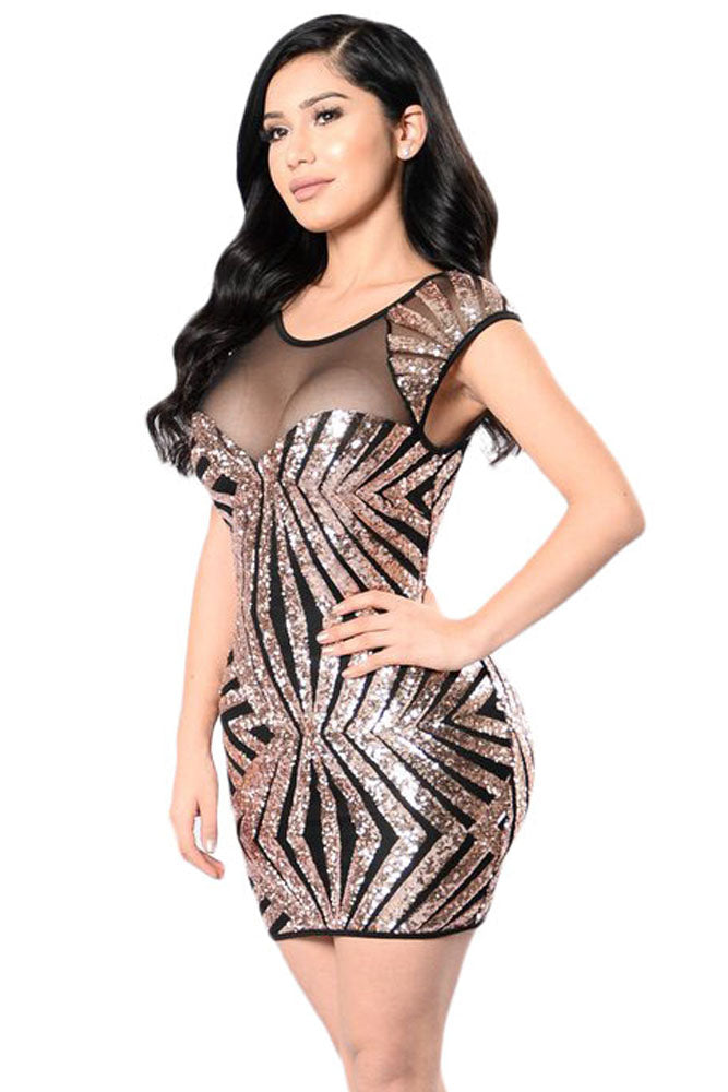 Gold Sequin Mesh Cutout Sexy Club Dress