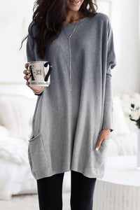 Gray Color Block Pocketed Side Long Top