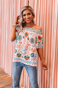 White Floral Shift Top