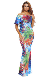 Tropical Print Off-the-shoulder Maxi Dress