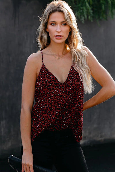 Red Leopard Printed Racerback Tank Top