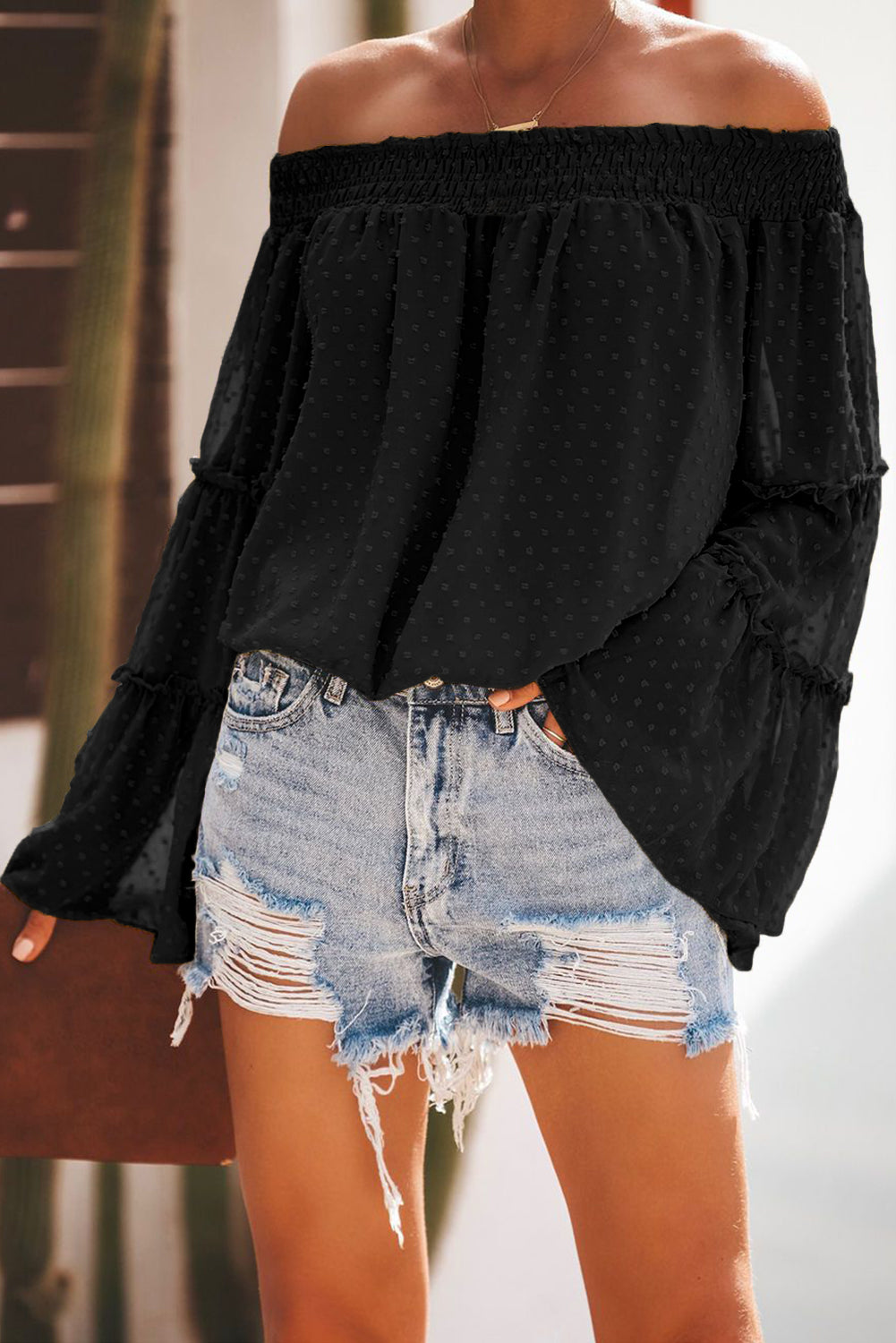 Black Swiss Dot Off The Shoulder Top
