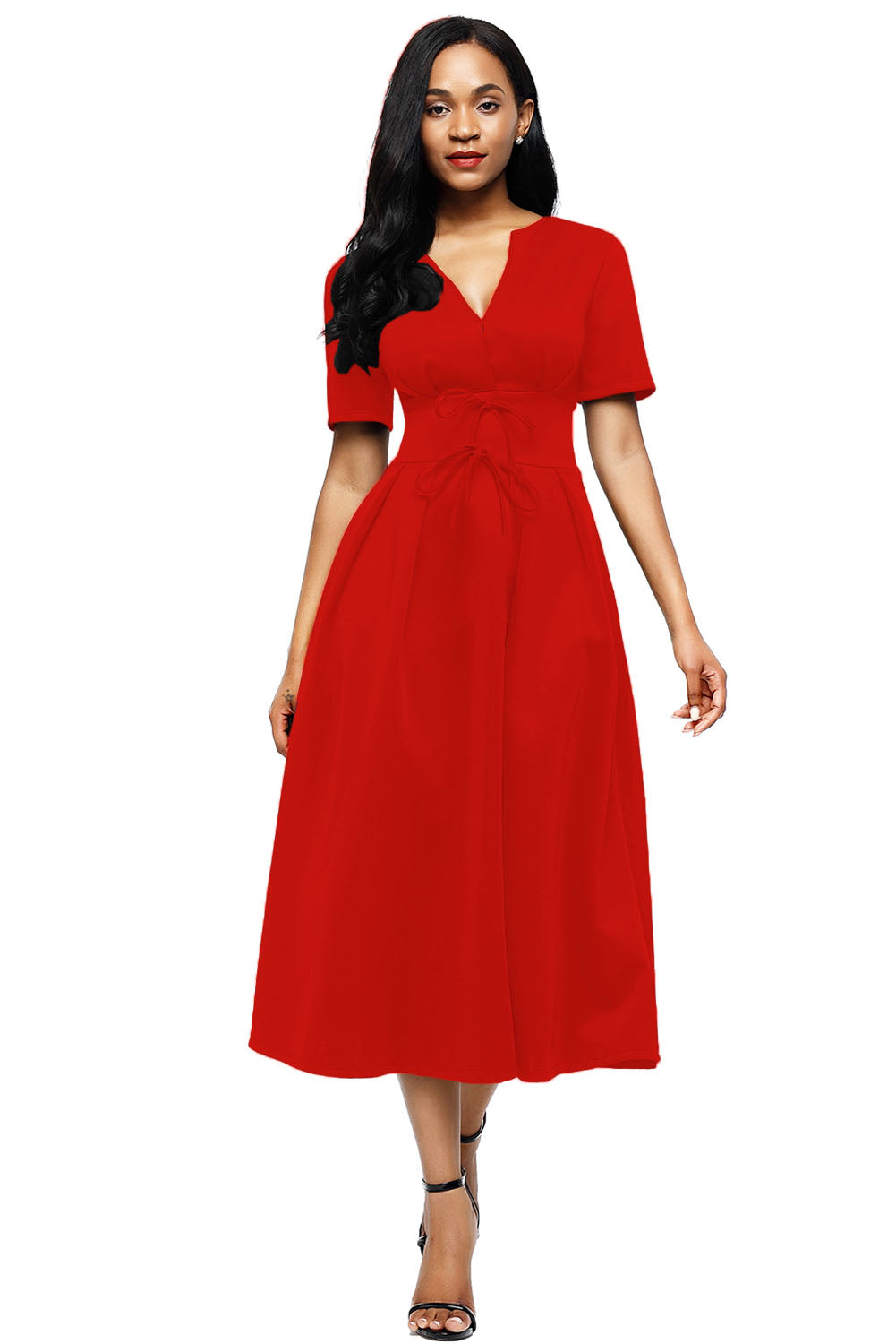 Red Split Neck Short Sleeve Midi Dress with Bowknots