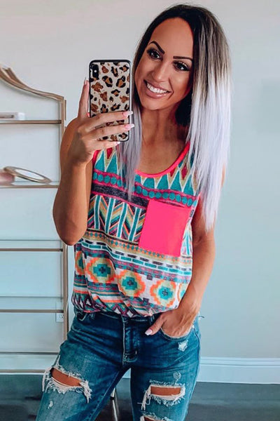 Multicolor Boho Print Tank Top with Pocket