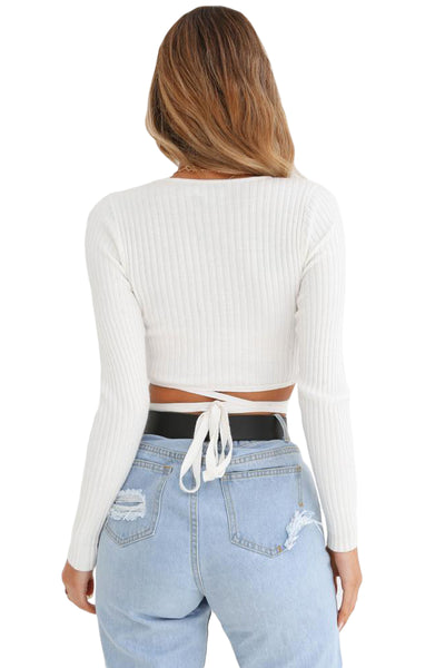 White Wrap V Neck Tie Waist Ribbed Crop Top