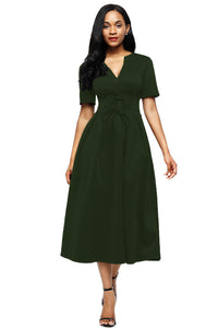 Olive Split Neck Short Sleeve Midi Dress with Bowknots