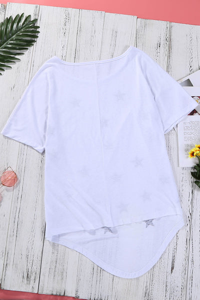 White Star Print Short Sleeve T-shirt