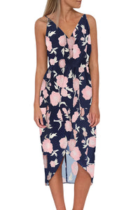 Blue V Neckline Sleeveless Floral Dress