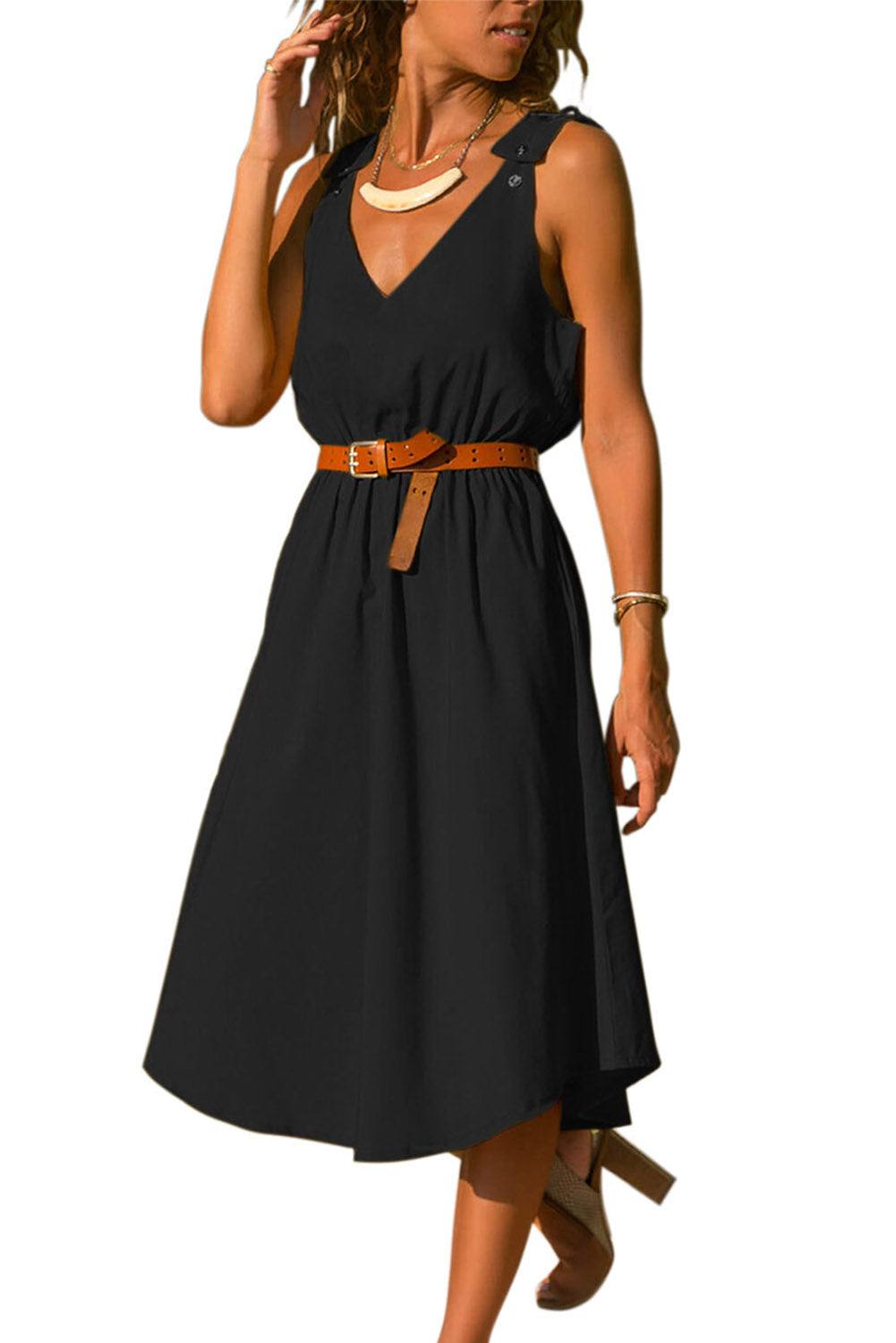 Black V Neck A-line Sundress