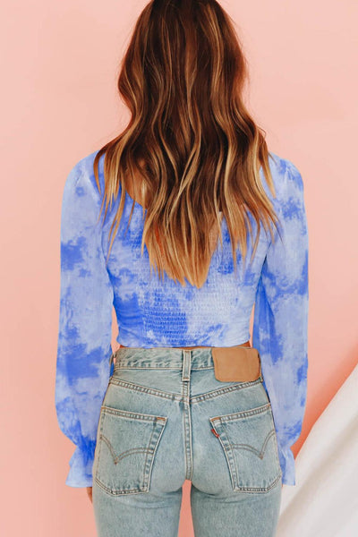 Blue Shirred Long Sleeve Crop Top