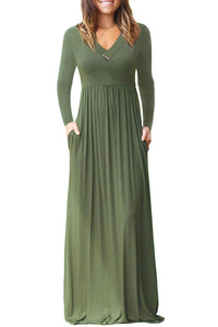 Army Green V Neck Pocket Style Long Jersey Dress
