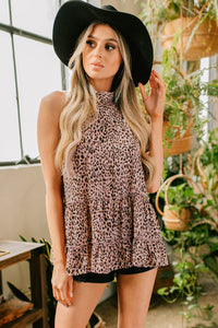 Leopard Print Sleeveless Halter Top