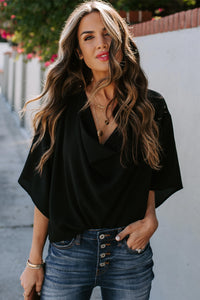 Black Draped Blouse