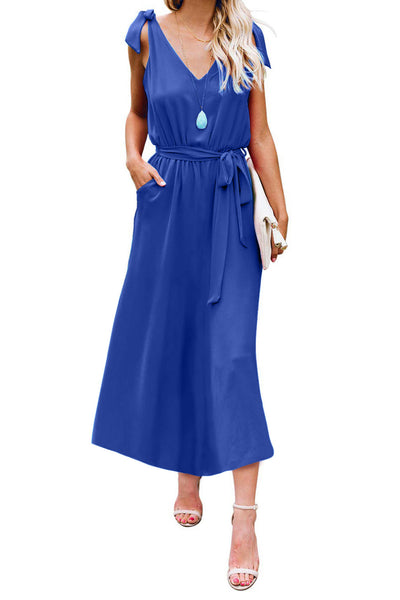 Blue Bowknot Shoulder Straps Jersey Dress with Belt