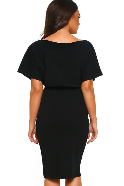 Black Belted Wrap Front Midi Dress